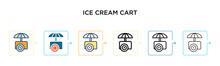 Ice Cream Cart Vector Icon In ...