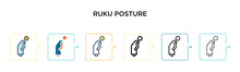 Ruku Posture Vector Icon In 6 Different Modern Styles. Black, Two Colored Ruku Posture Icons Designed In Filled, Outline, Line And Stroke Style. Vector Illustration Can Be Used For Web, Mobile, Ui
