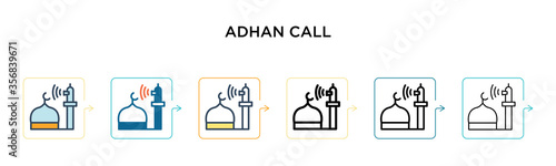 Adhan call vector icon in 6 different modern styles Canvas Print