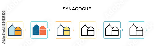 Valokuva Synagogue vector icon in 6 different modern styles