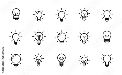 Obraz Set of light bulb icons in modern thin line style. - fototapety do salonu