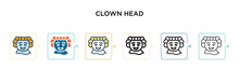 Clown Head Vector Icon In 6 Di...