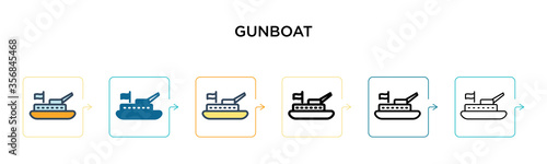 Gunboat vector icon in 6 different modern styles Canvas Print