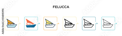 Felucca vector icon in 6 different modern styles Wallpaper Mural