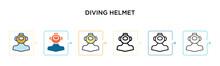 Diving Helmet Vector Icon In 6...
