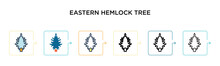 Eastern Hemlock Tree Vector Icon In 6 Different Modern Styles. Black, Two Colored Eastern Hemlock Tree Icons Designed In Filled, Outline, Line And Stroke Style. Vector Illustration Can Be Used For