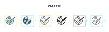 Palette Vector Icon In 6 Diffe...