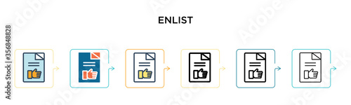 Enlist vector icon in 6 different modern styles фототапет