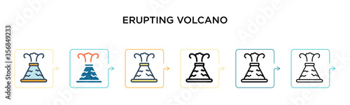 Photo Erupting volcano vector icon in 6 different modern styles