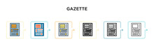 Gazette Vector Icon In 6 Diffe...