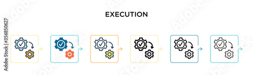 Photo Execution vector icon in 6 different modern styles