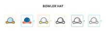 Bowler Hat Vector Icon In 6 Di...