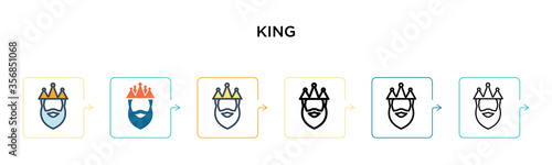 King vector icon in 6 different modern styles Canvas Print
