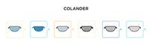 Colander Vector Icon In 6 Diff...
