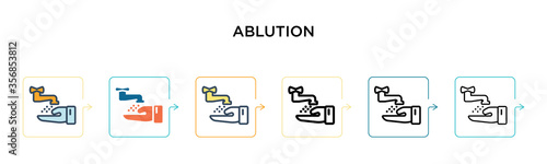 Fotografie, Tablou Ablution vector icon in 6 different modern styles