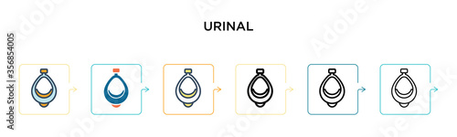 Valokuvatapetti Urinal vector icon in 6 different modern styles