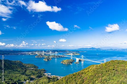 亀老山展望台より来島海峡大橋と瀬戸内海の島々 Fototapete