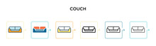 Couch Vector Icon In 6 Differe...