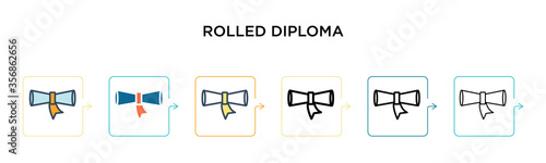 Rolled diploma vector icon in 6 different modern styles Canvas Print