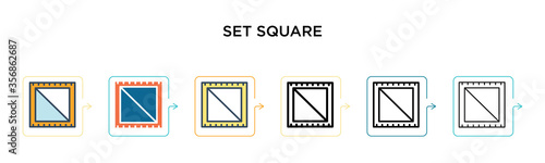 Fotografering Set square vector icon in 6 different modern styles