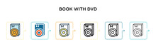 Book With Dvd Vector Icon In 6...