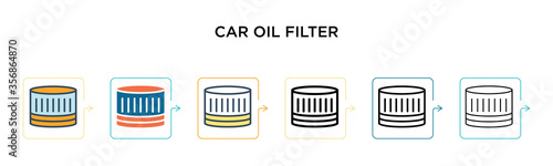 Cuadros en Lienzo Car oil filter vector icon in 6 different modern styles