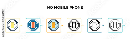 No mobile phone sign vector icon in 6 different modern styles Canvas Print