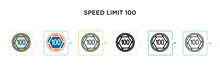 Speed Limit 100 Vector Icon In...