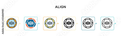 Photo Align vector icon in 6 different modern styles
