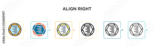 Photo Align right vector icon in 6 different modern styles