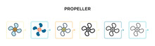 Propeller Vector Icon In 6 Different Modern Styles. Black, Two Colored Propeller Icons Designed In Filled, Outline, Line And Stroke Style. Vector Illustration Can Be Used For Web, Mobile, Ui