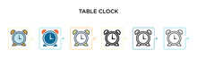 Table Clock Vector Icon In 6 D...