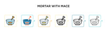 Mortar With Mace Vector Icon I...