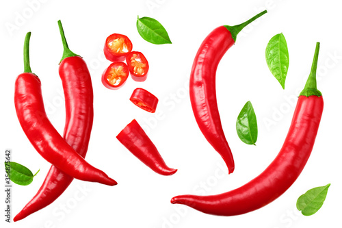 sliced red hot chili peppers isolated on white background top view Fotobehang