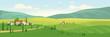 Idyllic rural scenery flat color vector illustration
