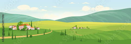 Fototapeta Idyllic rural scenery flat color vector illustration obraz