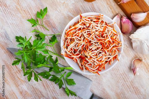 Fotografía Seafood tapa Rallado de Mar made of grated surimi