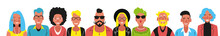 Bright Person Portrait. Avatars Set. Hand Drawn Flat Style. Illustration Of Male And Female Faces And Shoulders. Vector People Icons.