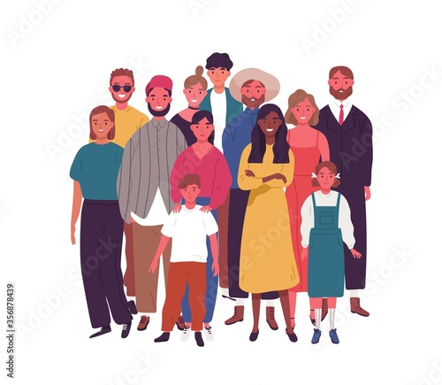 Crowd of smiling diverse people standing together vector flat illustration. Group of multiethnic joyful man, woman and children isolated on white. Happy old and young characters. Social diversity