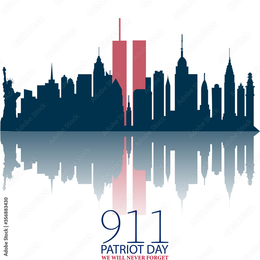 Fototapeta New York City Skyline with Twin Towers.  09.11.2001 American Patriot Day anniversary banner.