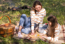 Two Adorable Sisters Playing I...