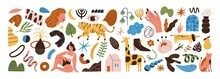 Set Of Abstract Trendy Doodle Shapes And Objects Vector Flat Illustration. Collection Of Various Hand Drawn Animals, People, Plants And Symbols Isolated On White. Colorful Modern Decorative Elements