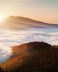 Panel Szklany Vintage Breathtaking morning moment in alpine foggy valley.