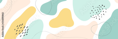 Fototapeta Beautiful pastel social media banner template with minimal abstract organic shapes composition in trendy contemporary collage style obraz