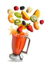 Blender With Fruit Flying, Isolated From The Background