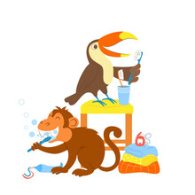 Vector Illustration Of Cute Jungle Animals Which Clean Their Teeth With Brushes. Monkey And Touan Brush Their Teeth In Bathroom With Fun.