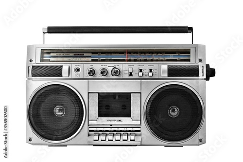 Photo retro ghetto blaster isolated with clipping path