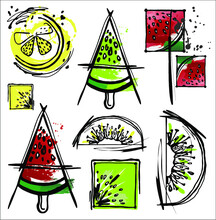 Set Of Bright Summer Fruits With Watermelon, Kiwi, Lemon And Lime. Vector Graphics, Fruit Pattern.