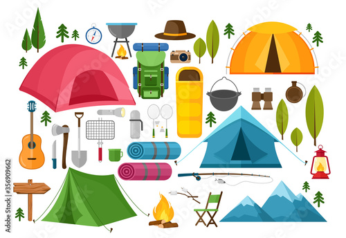 Vector set of camping equipment symbols, icons and elements Fotobehang