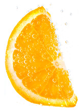 Orange In Water With Bubbles I...